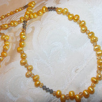 Golden Pearl Necklace and Earrings