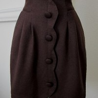 GAZA Modcloth vintage skirt brown mod buttons scallop indie brown mad men S