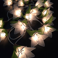 Fairy Lights - 20 White Lilly Flower Fairy String Lights Hanging Wedding Gift Party Patio,Bedroom fairy lights,Indoor string lights.