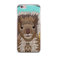 "Art Love Passion ""Squirrel"" Teal Brown iPhone Case"