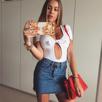 Slim Summer Women's Fashion Hot Sale Sexy Butterfly Short Sleeve Cotton One-piece [10786294607]