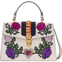 Gucci Medium Sylvie Floral Patch Top Handle Leather Shoulder Bag | Nordstrom