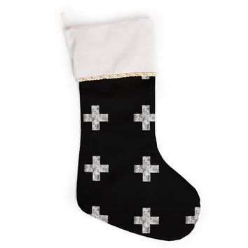 "Skye Zambrana ""Swiss Cross Black"" Simple Dark Christmas Stocking"