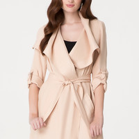 bebe Womens Drape Collar Trench Coat Soft Peach