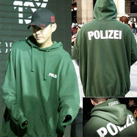 Print Winter Green Long Sleeve Hoodies [10368014147]