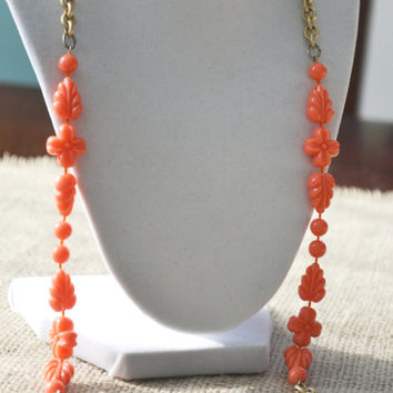 Vintage Necklace, Sarah Coventry, Coral Acrylic Beads, Goldtone Link Necklace, 1960s
