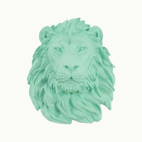 Faux Taxidermied - The Wynnmar - Seafoam Resin Lion Head- Resin White Faux Taxidermy- Chic & Trendy
