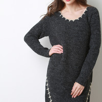 Thick Knit Stitched Long Sleeve Midi Dress