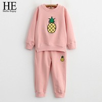 Girl Clothing Set Spring Autumn Kids Clothes Long Sleeve Fruit Print T-Shirt + Pants 2pcs tracksuit For Girl