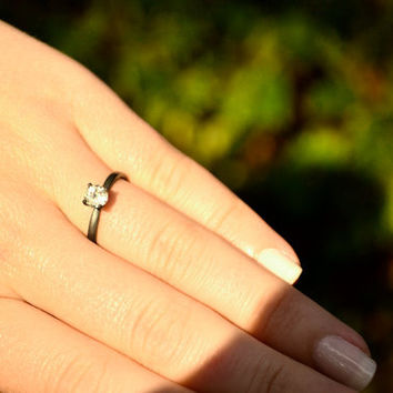 White Topaz Diamond Ring Topaz Ring in Sterling by abishessentials