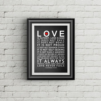 20% OFF SALE Love Is Patient Love Is Kind Wall Art 1 Corinthians 13 Family Sign Christian Wall Art Print Love Is Patient Print