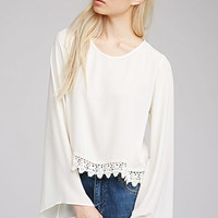 Crochet-Trimmed Chiffon Top
