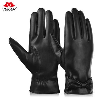 Vbiger Women Winter Warm Running Cycling Gloves Thick PU Leather Outdoor Sports Mittens Gloves Touch Screen Gloves