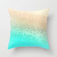 GOLD AQUA Throw Pillow by Monika Strigel