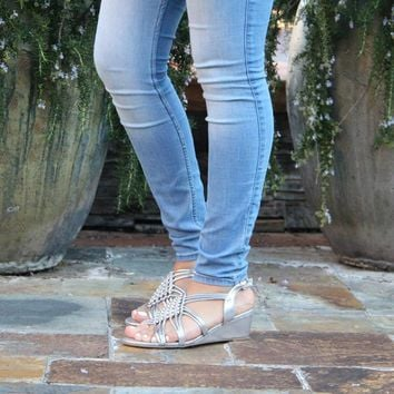 Women's Silver Shimmery Wedge Sandal with Clear Rhinestones