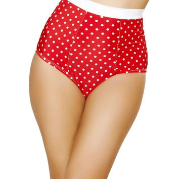 Roma Rave SH3121 - Red/White Retro High-Waisted Shorts
