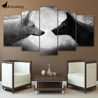 wolf decor HD print 5 Piece Canvas art Black And White Wolves Painting Wall Art Pictures For Living Room freeshipping CU-1359A