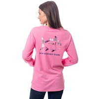 Merrytime Plaid Skipjack Long Sleeve T-Shirt in Smoothie Pink by Southern Tide