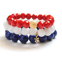 July Bracelet Stack - Red, White and Blue