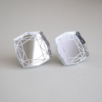 Mirror Princess Cut Stud Earrings Statement Diamond - Laser Cut Acrylic Perspex