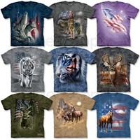 New PATRIOTIC ANIMAL T-Shirt S-3XL USA Wolf Tiger Horse America Wildlife Tee