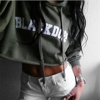 """ Black Dope "" 2016 Autumn Women's Trending Popular Fashion Floral Printed Top Bare Midriff Casual Simple Long Sleeve Hoodie Sweatshirt Shirt Crop Top _ 9212"