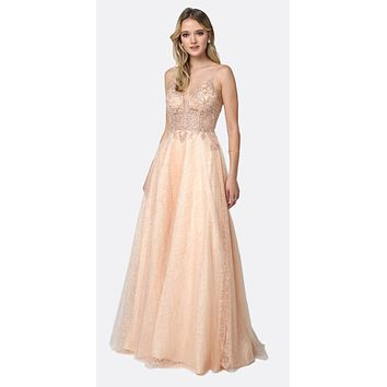 CLEARANCE - Sheer Embroidered Bodice Sequin Train Tulle Ball Gown Champagne (Size XS)