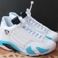 Air Jordan 14 Retro AJ14 White/Blue Basketball Shoe