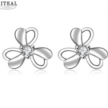 Silver Plated Floral Stud Earrings With Cubic Zirconia Flash Diamond #111
