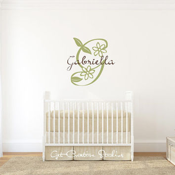 Baby Monogram Wall Decal Sticker Initial Letter Nursery Script Floral Children Beige Chocolate Green Sage Decorate Personalize Text