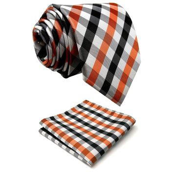 P1 Checked Orange Black White Men's Neckties Set 100% Silk Designers Fashion hanky Men Ties for men 63""