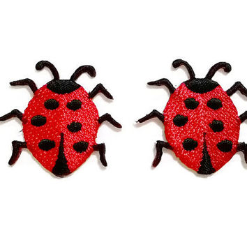 Set 2pcs. Little Ladybug - Red Ladybug New Sew on / Iron On Patch Embroidered Applique Size 3.7cm.x3.4cm.