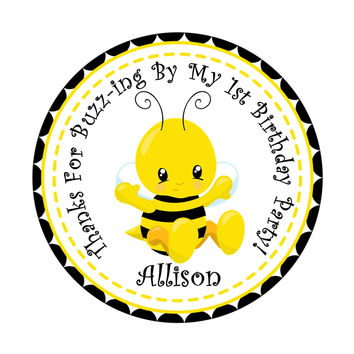 "1st Birthday Bumble Bee Birthday Party Stickers - 2.5"" Round"