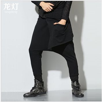 HOT 2016 New European and American loose trousers hanging crotch harem pants Bloomers singer costumes clothing