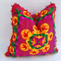 Suzani Cushion Covers Handmade Woolen Embroidered Cute Gift Turkish Style Multicolored for Him or Her Decorative Pillows Indian Art 16 x 16