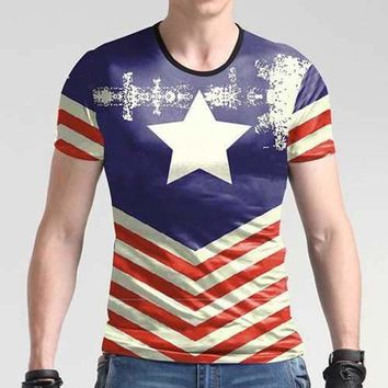 Mens Fashion 3D Printing Retro Western Style O-neck Short-sleeved T-shirt