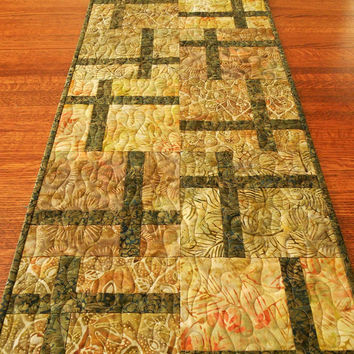 Quilted Batik Table Runner in Warm Neutral Earth Tones, Shades of Green Gold and Brown with Leaves and Ferns, Long Quilted Batik Table Mat