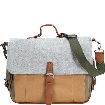 Something Strong Tri-Color Canvas And Wool Messenger With Inner Laptop Compartment - eBags.com