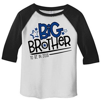 Shirts By Sarah Boy's Toddler Big Brother To Be 2018 Promoted 3/4 Sleeve Raglan