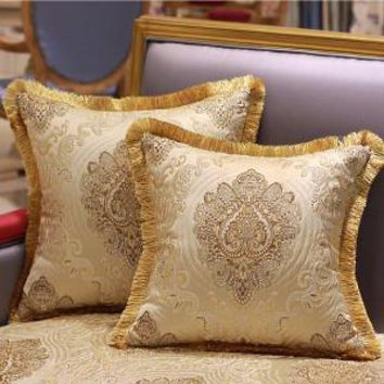 "Gold Verona Pillow Embellished With Trim 20""X20"""