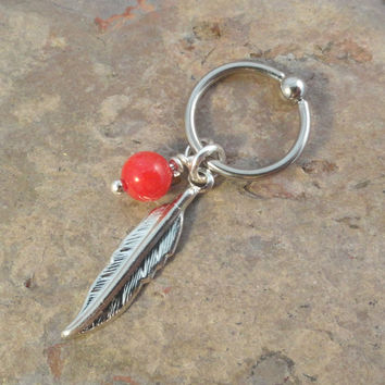 Red Coral Cartilage Hoop Silver Feather CBR Earring Belly Button Jewelry