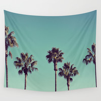 California Palm Trees Wall Tapestry by Lawson Images