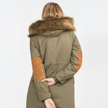 PARKA WITH FAUX FUR HOOD