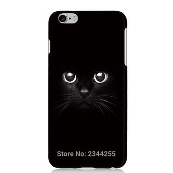 For iphone 7 6 plus hard Plastic PC Back Cover For iphone 5 5s 5c 4s SE ipod 5 6 Black cat Painted Protect Case