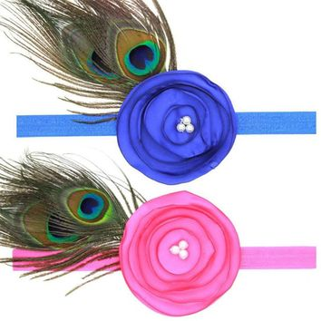 Best dealing peacock feather headband hair band hair flower Elastic Headband bird haarband schmuck stirnband Dropshipping