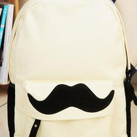British Style Sweet Cute Mustache Leisure Canvas Backpack from perfectmall