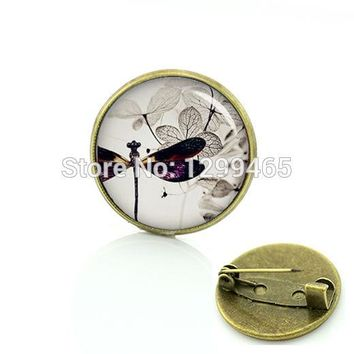 2017 Real Broche Classic Collection Dragonfly Style Pin Nature Animals Insects Brooches Steam Punk Supernatural Medal C 903