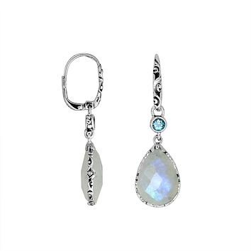 AE-8011-CO1 Sterling Silver Earring With Rainbow Moonstone, Blue Topaz