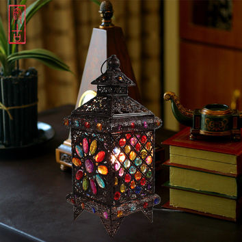 Bohemian Style Fashion Rustic Style Table Lamp Lantern Lamps Decoration Table Lamp Bedroom Lamp Shipping
