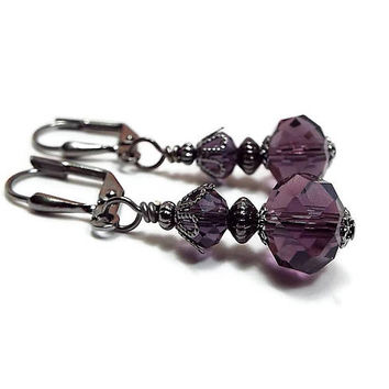 Dark Purple Earrings, Goth Earrings, Gunmetal Plated, Vintage Style, Drop Earrings, Crystal Earrings, Clip on Earrings Lever Back Hook